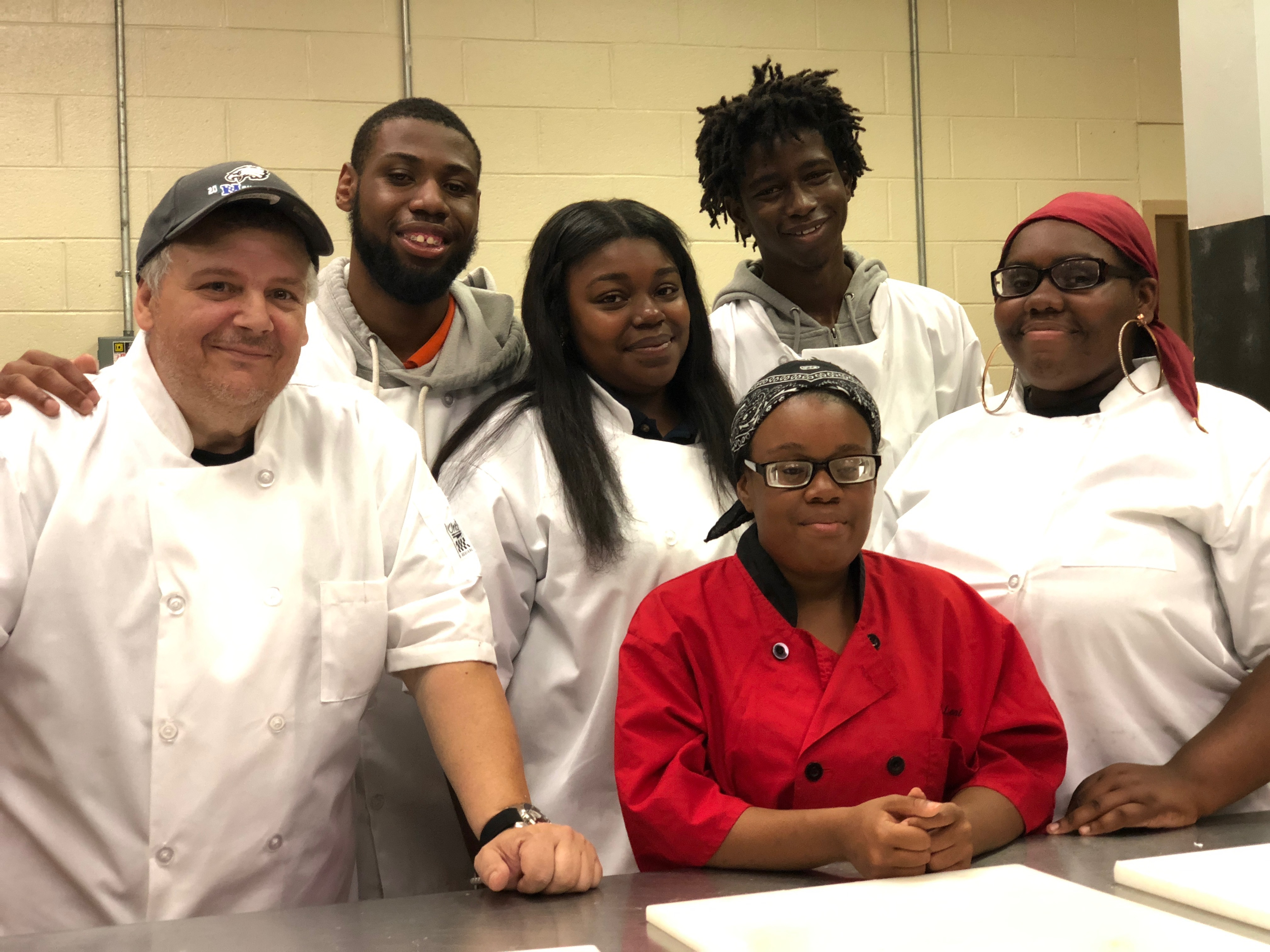 Chef Michael Bell with his culinary students.